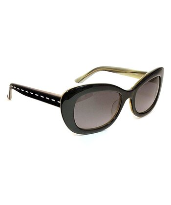 Black Horn Flared Cat-Eye Sunglasses