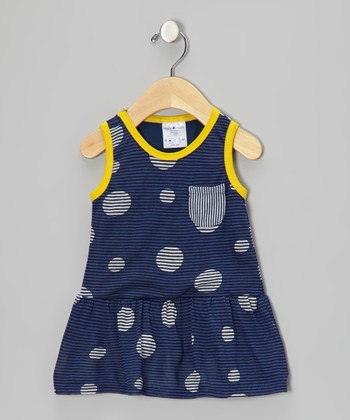 Navy & Black Stripe Pocket Dress - Infant
