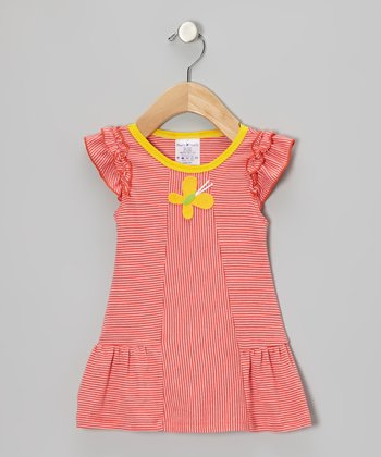 Orange & White Stripe Butterfly Dress - Infant & Toddler