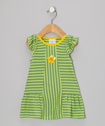 Green & Yellow Stripe Flower Dress - Infant & Toddler