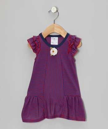 Blue & Red Stripe Flower Dress - Infant, Toddler & Girls