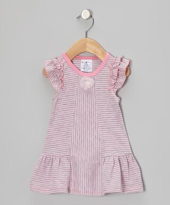 Pink & Gray Stripe Flower Dress - Infant & Toddler