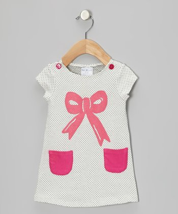 Black & Pink Polka Dot Bow Dress - Infant & Toddler