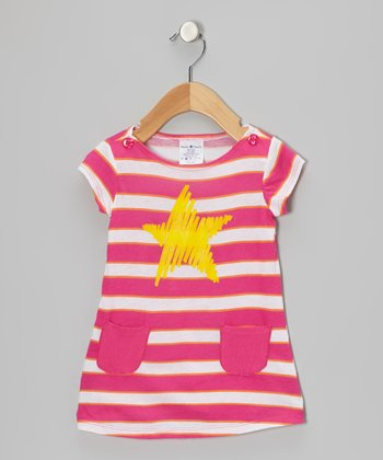 Pink & Yellow Stripe Star Dress - Infant, Toddler & Girls