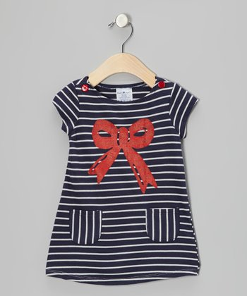 Navy & Red Stripe Bow Dress - Infant & Toddler