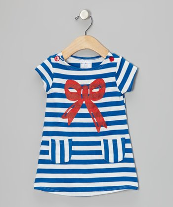 Blue & Red Stripe Bow Dress - Infant, Toddler & Girls