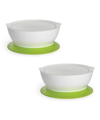 Green 12-Oz. Covered No-Spill Suction Bowl - Set of Two