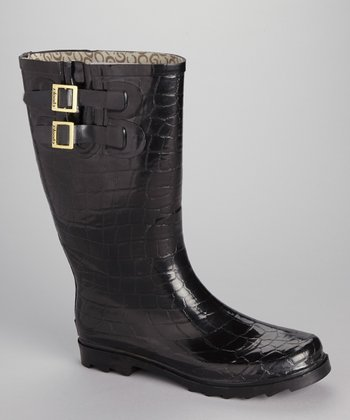 Black Crocodilia Rain Boot