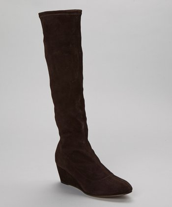 Dark Brown Stretch Suede Wedge Boot