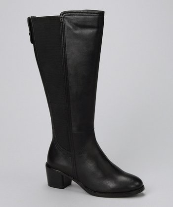Black Leather Wendy Wide-Calf Boot