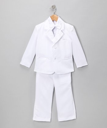 White Alternative Tuxedo Jacket Set - Toddler & Boys