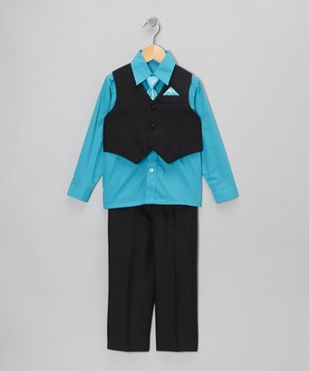 Black & Turquoise Vest Set - Infant, Toddler & Boys