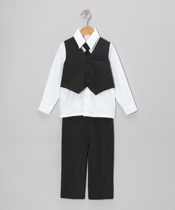 Black Pinstripe Vest Set - Infant, Toddler & Boys