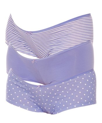 Blue Polka Dot Maternity Boyshorts Set