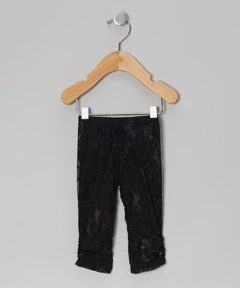Black Lace Ruched Leggings - Infant & Toddler