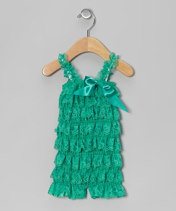 Green Lace Ruffle Romper - Infant & Toddler