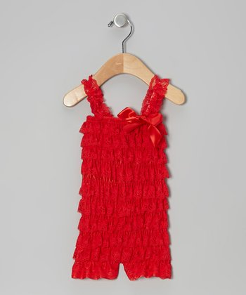 Red Lace Ruffle Romper - Infant & Toddler