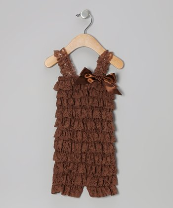 Brown Lace Ruffle Romper - Infant & Toddler