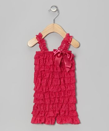 Hot Pink Lace Ruffle Romper - Infant & Toddler