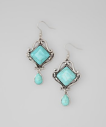 Turquoise & Silver Scroll Framed Stone Drop Earrings