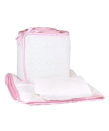 White & Pink Cotton Eyelet Cradle Bedding Set