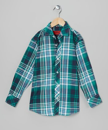 Blue & Teal Plaid Button-Up - Toddler & Boys