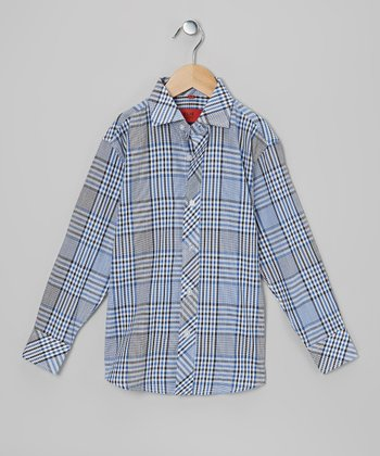 Blue & Black Plaid Button-Up - Toddler & Boys