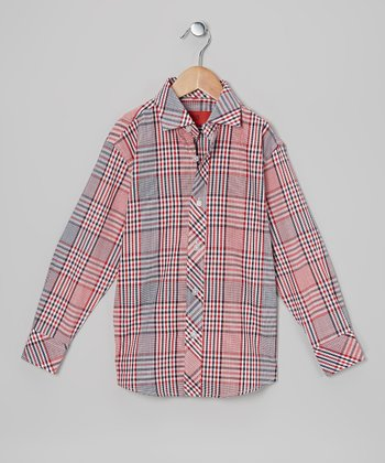 Red & Black Plaid Button-Up - Toddler & Boys