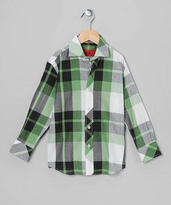 Green & Black Plaid Button-Up - Toddler & Boys