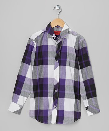 Purple & Black Plaid Button-Up - Toddler & Boys