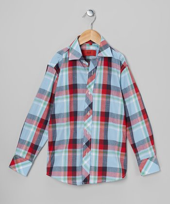 Light Blue & Red Plaid Button-Up - Toddler & Boys