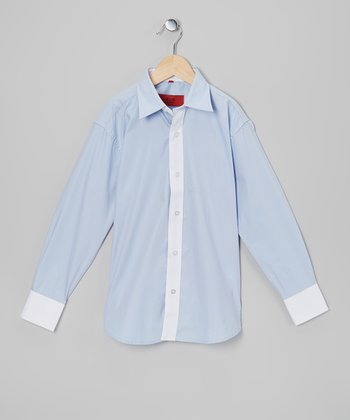 Light Blue & White Button-Up - Toddler & Boys