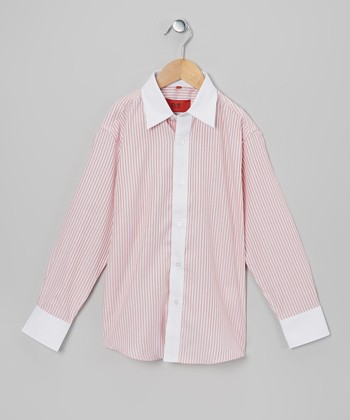Red & White Stripe Button-Up - Boys