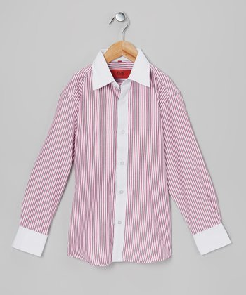 Burgundy & White Stripe Button-Up - Toddler & Boys