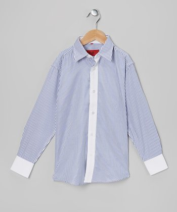 Navy & White Stripe Button-Up - Toddler & Boys