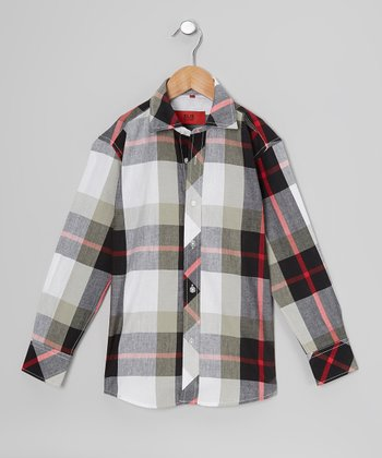 Gray & Red Plaid Button-Up - Boys
