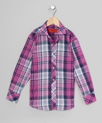 Pink & Gray Plaid Button-Up - Toddler & Boys