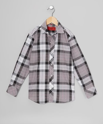 Black & Gray Plaid Button-Up - Toddler & Boys