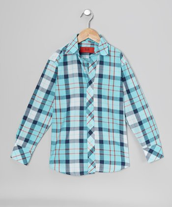 Turquoise & Red Plaid Button-Up - Toddler & Boys