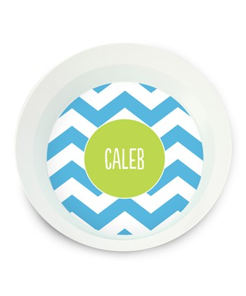 Blue Zigzag Personalized Bowl