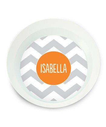 Gray Zigzag Personalized Bowl