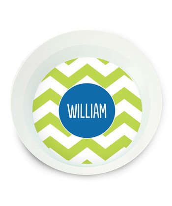 Green Zigzag Personalized Bowl