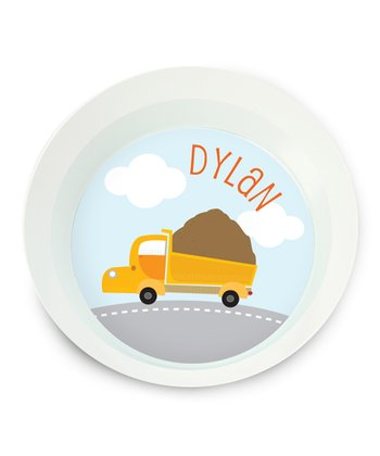 Dump Truck Personalized Bowl