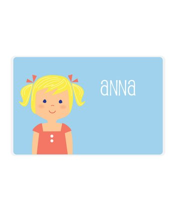 Blonde Pigtails Girl Personalized Place Mat