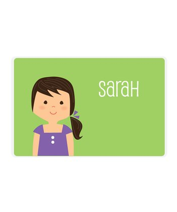 Black-Haired Ponytail Girl Personalized Place Mat