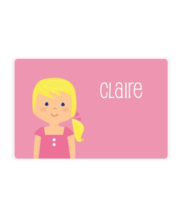 Blonde Ponytail Girl Personalized Place Mat