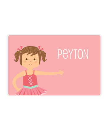 Brown-Haired Pigtails Ballerina Personalized Place Mat