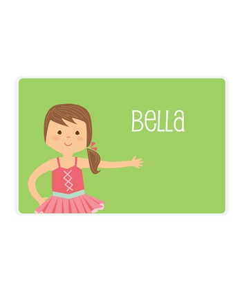Brown-Haired Ponytail Ballerina Personalized Place Mat