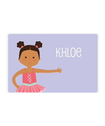 Black-Haired Pouf Pigtails Ballerina Personalized Place Mat