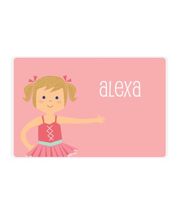 Dark Blonde Pigtails Ballerina Personalized Place Mat